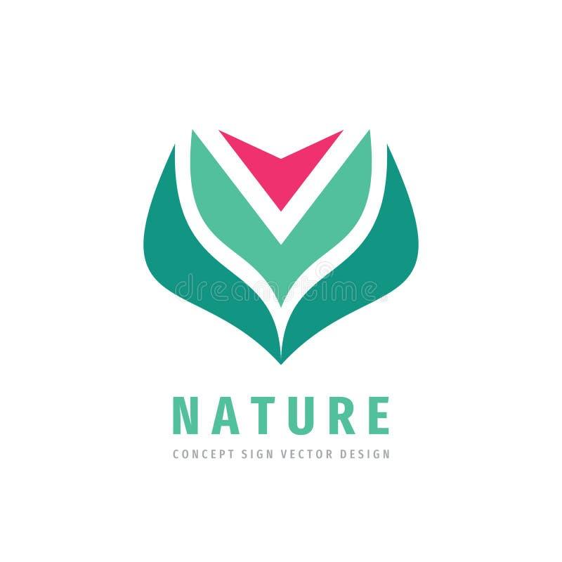 Nature concept logo design. Red flower with green leaves - creative logo sign. Floral logo symbol. Vector illustration vector illustration