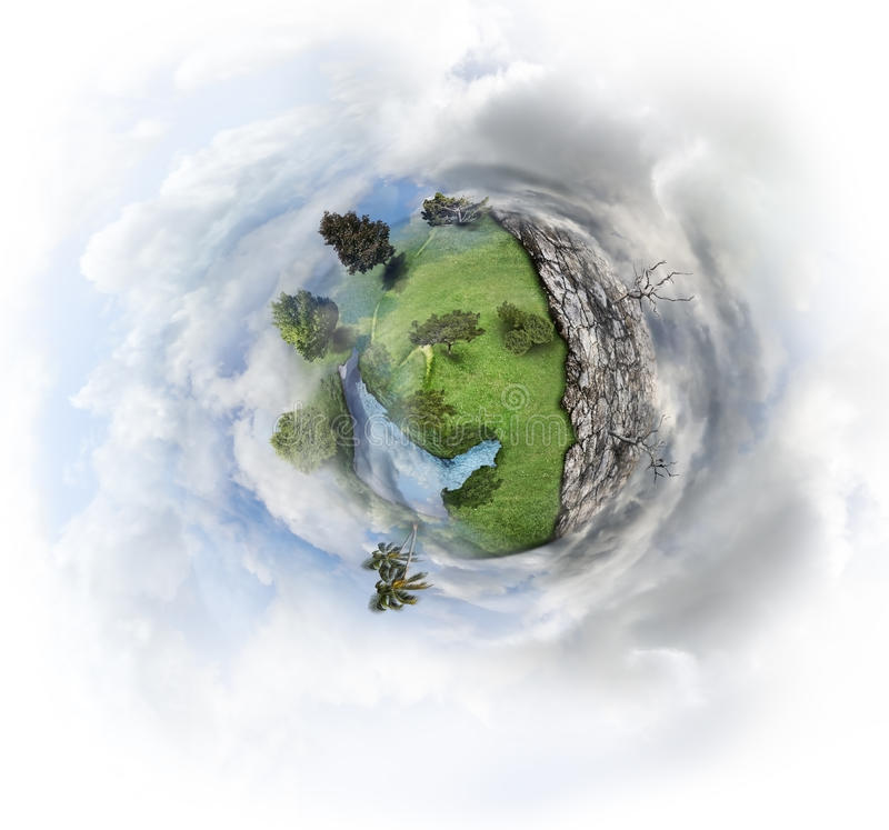 Nature Concept. With Miniature Earth stock photos