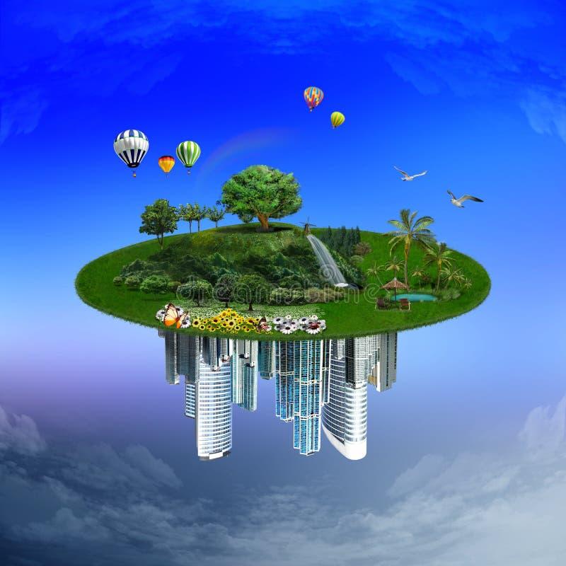 Nature contre la ville. illustration de vecteur ...