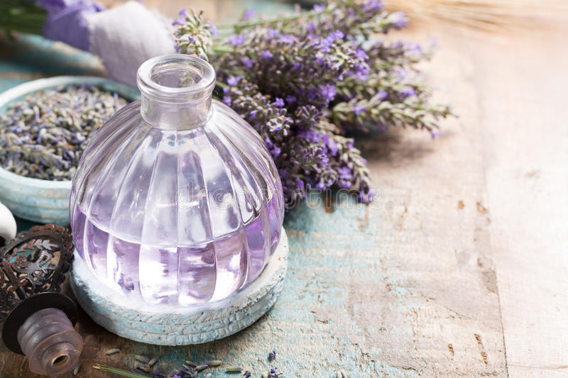 Nature cosmetics, handmade preparation of essential oils, parfums, creams, soaps from fresh and dried lavender flowers, French ar stock photo