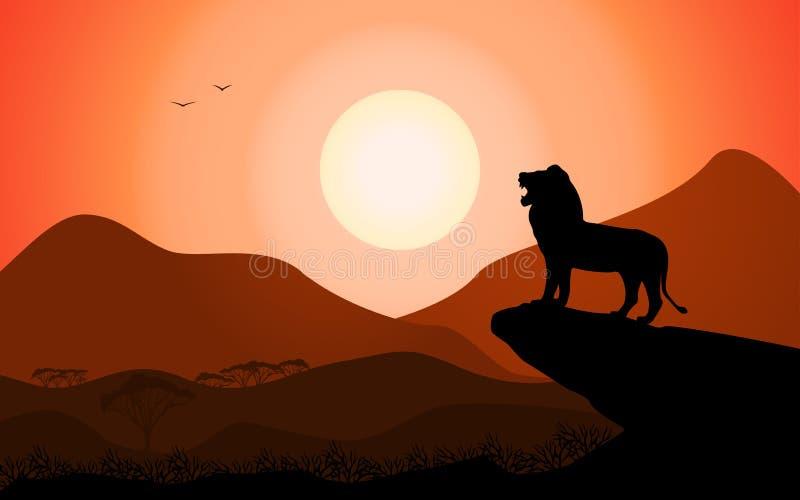 Nature d'Africain de lion de roi de silhouette de vecteur photo stock