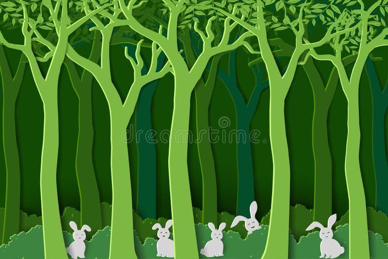 Nature d'amour avec les lapins blancs la bande dans la forêt verte, style de papier d'art pour des vacances de Pâques, invitation illustration libre de droits