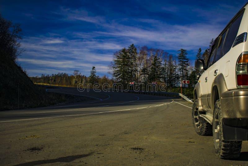 Nature d'hiver de WinterRoad SAKHALINE photographie stock libre de droits