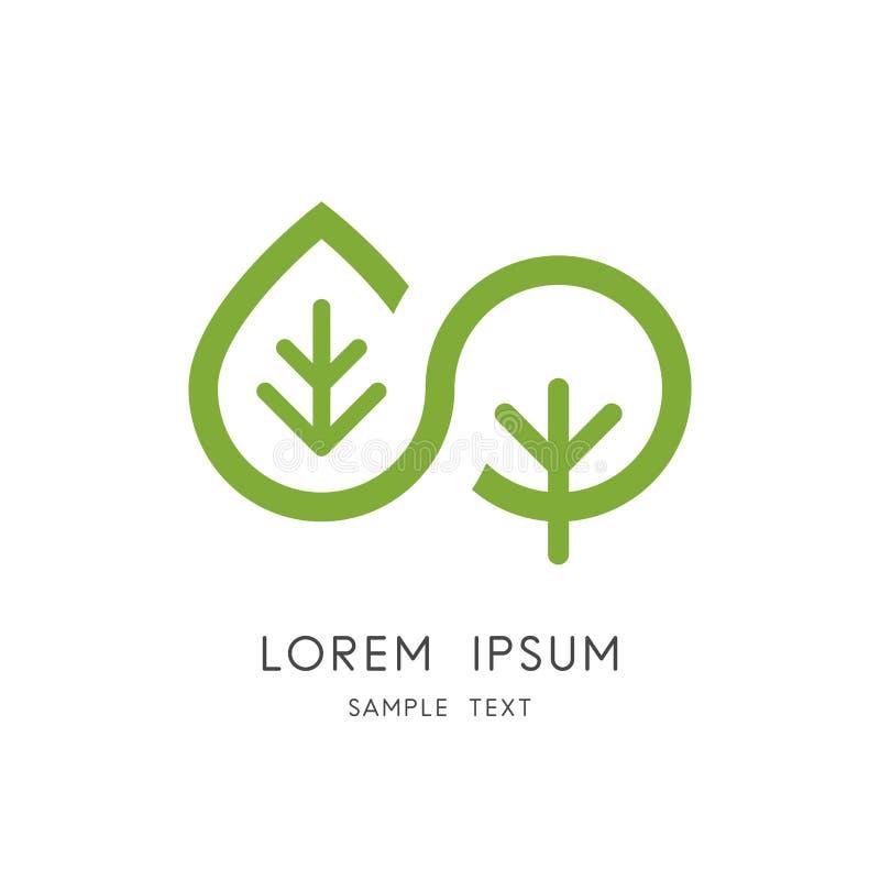 Nature d'infini - logo de feuille et d'arbre illustration libre de droits
