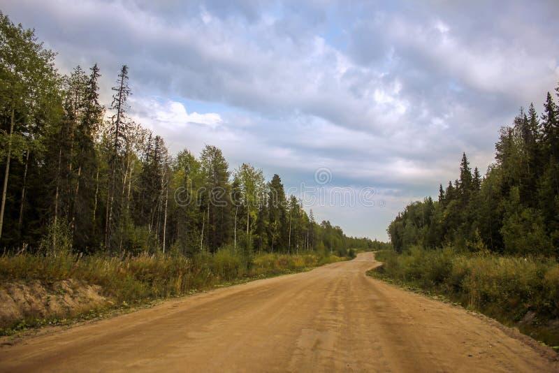 Nature de cuvette de route avec la forêt verte et ciel bleu pendant l'été Chemin de terre de gravier Lutte anti-incendie image libre de droits