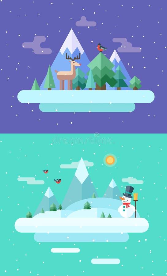 Nature de l'hiver Temps de Noël Vecteur plat illustration libre de droits