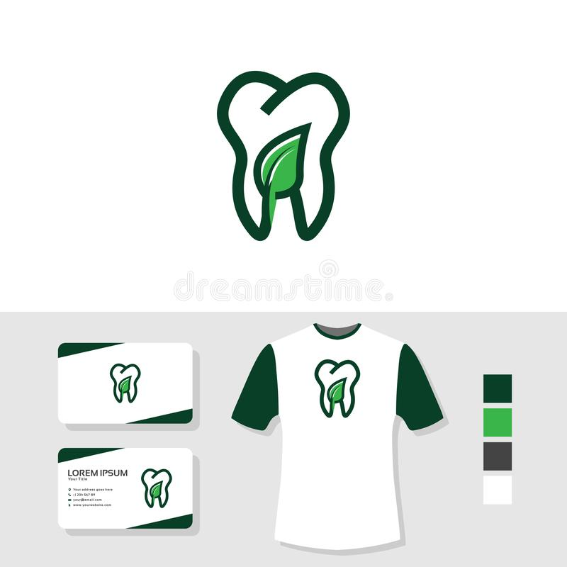Nature dental logo design with business card and t shirt mockup stock illustration