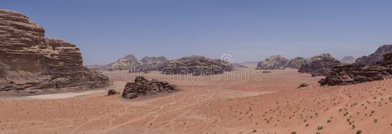 Nature, desert and rocks of Wadi Rum (Valley of the Moon), Jordan. UNESCO World Heritage. Panorama royalty free stock photos