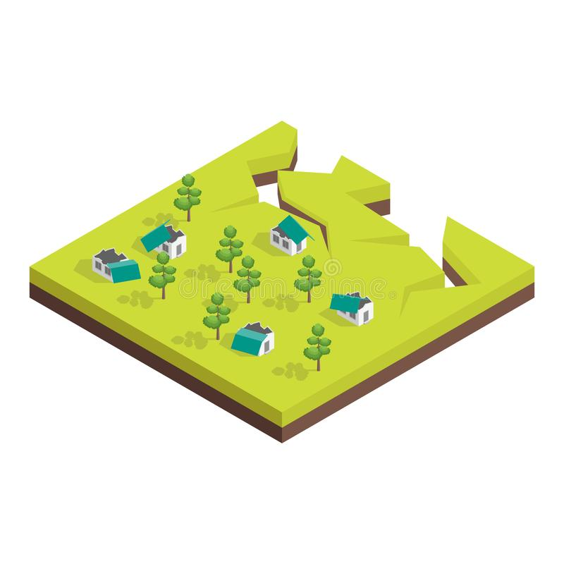 Nature Disaster Concept 3d Isometric View. Vector. Nature Disaster Concept 3d Isometric View Include of Earthquake. Vector illustration vector illustration