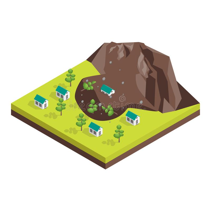 Nature Disaster Concept 3d Isometric View. Vector stock illustration