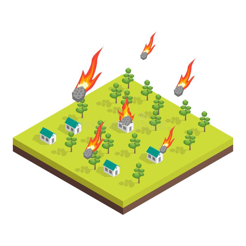 Nature Disaster Concept 3d Isometric View. Vector vector illustration
