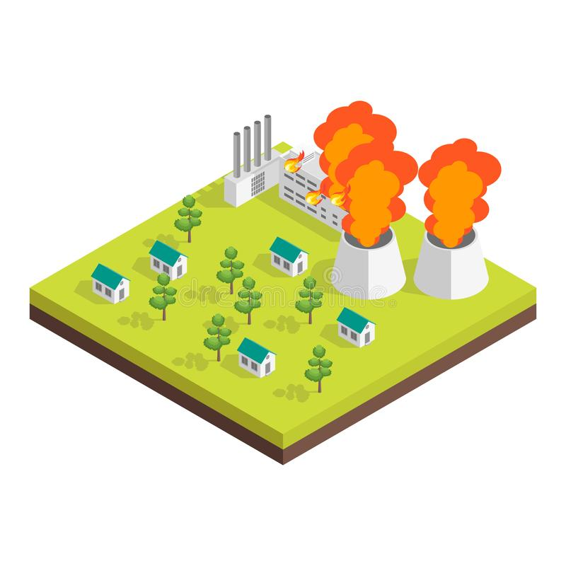 Nature Disaster Concept 3d Isometric View. Vector. Nature Disaster Concept 3d Isometric View Include of Factory Pollution. Vector illustration royalty free illustration