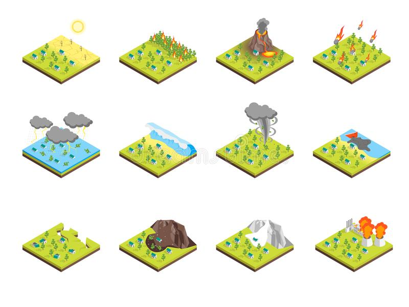 Nature Disaster Concept Set 3d Isometric View. Vector. Nature Disaster Concept Set 3d Isometric View Include of Fire, Hurricane, Volcano, Storm, Tornado and royalty free illustration