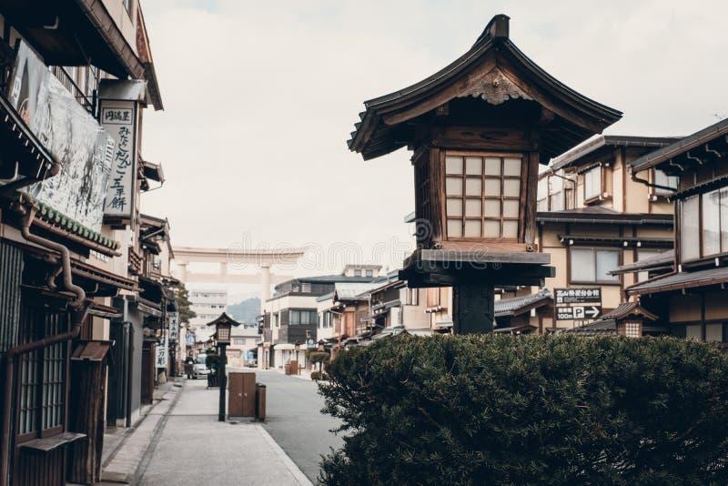 Nature of Downtown Takayama old Town in Japan. Takayama, Gifu, Japan - December 2018 : Sightseeing around old Town Hida-Takayama downtown with lot of souvenir stock photos