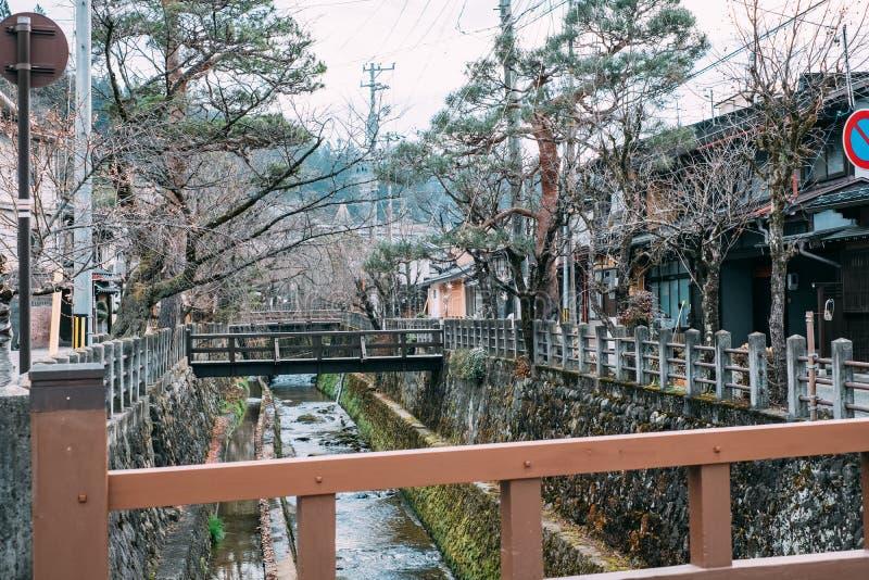 Nature of Downtown Takayama old Town in Japan. Takayama, Gifu, Japan - December 2018 : Sightseeing around old Town Hida-Takayama downtown with lot of souvenir royalty free stock image