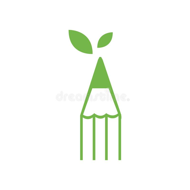nature eco Pencil Logo Icon Vector Template Illustration Design vector illustration
