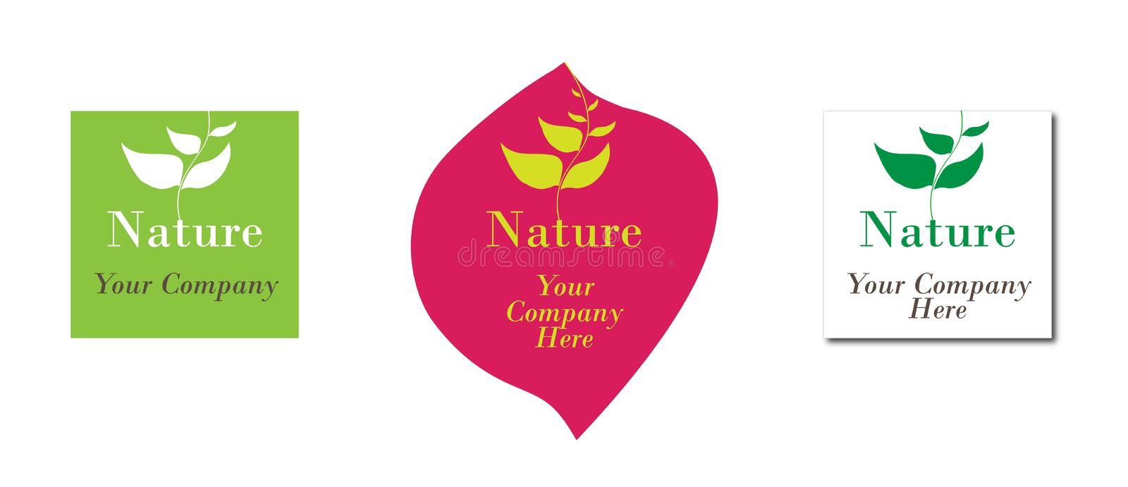 Nature ecology logo. Nature logo design on white. Alternative medicine, pharmaceutical industry and ecology targeted. Vector logo, color and text is editable