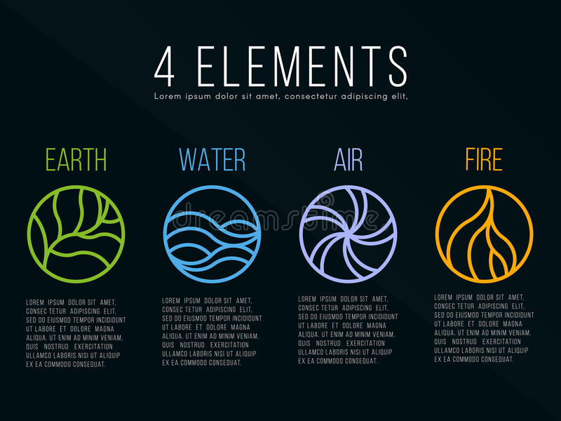 Nature 4 elements in circle icon abstract line border sign. Water, Fire, Earth, Air. on dark background. vector illustration