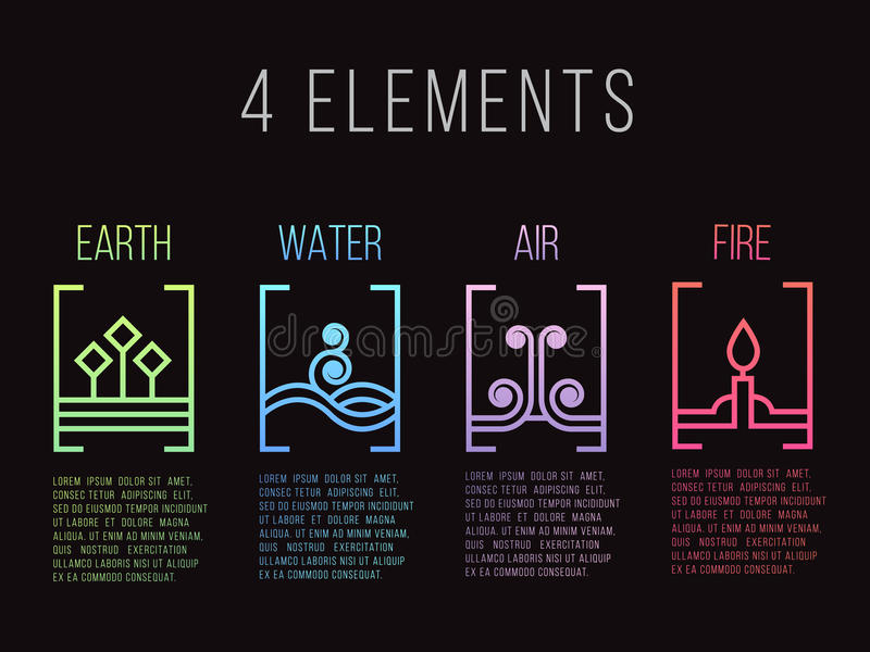 Nature 4 elements line border abstract gradient icon sign. Water, Fire, Earth, Air. on dark background. vector illustration
