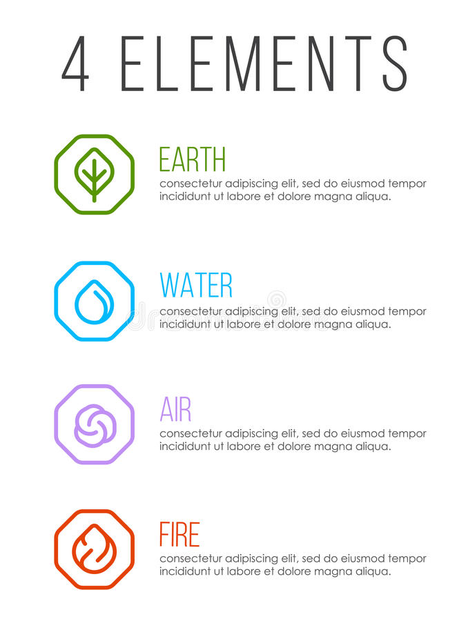 Nature 4 elements in line border abstract icon sign. Water, Fire, Earth, Air. vector design royalty free illustration
