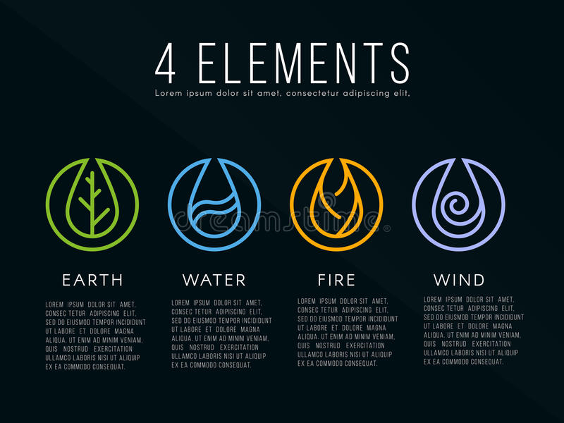 Nature 4 elements logo sign. Water, Fire, Earth, Air. on dark background. royalty free illustration