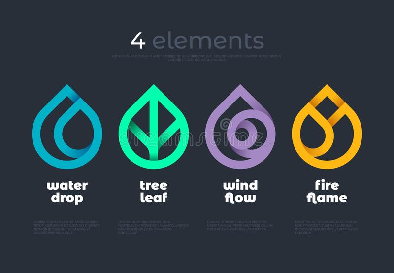 Nature elements. Water, Fire, Earth, Air. Gradient logo on dark background. Alternative energy sources line logo. Eco logo. Nature elements. Water, Fire, Earth royalty free illustration