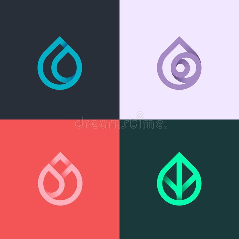 Nature elements. Water, Fire, Earth, Air. Gradient logo on dark background. Alternative energy sources line logo. Eco logo. Nature elements. Water, Fire, Earth stock illustration
