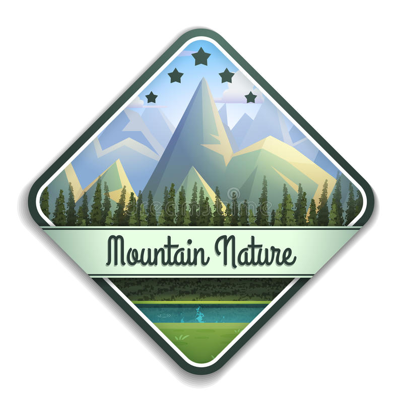 Nature emblem of mountain landscape with river and coniferous forest isolated on white background. vector illustration