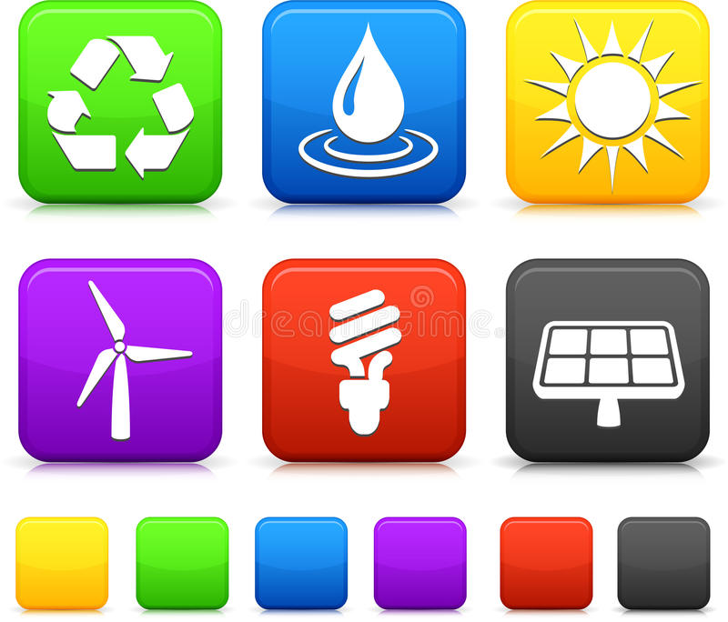 Download Nature Environment Icons On Square Stock Illustration - Image: 12329932