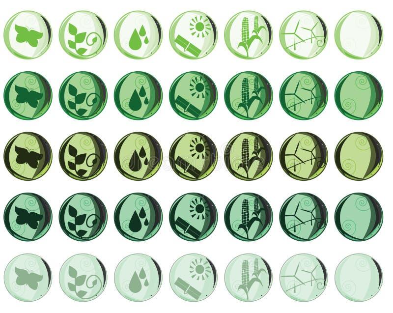 Nature and Environmental icons royalty free illustration