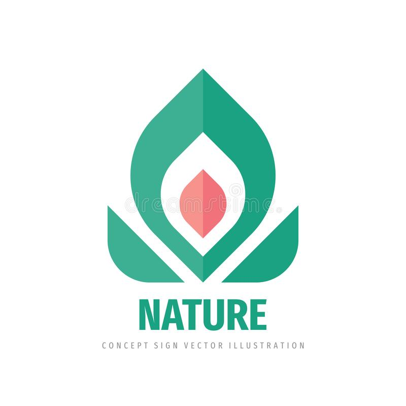 Nature flower and leaves - concept logo design. Floral sign. Vector illustration. royalty free illustration
