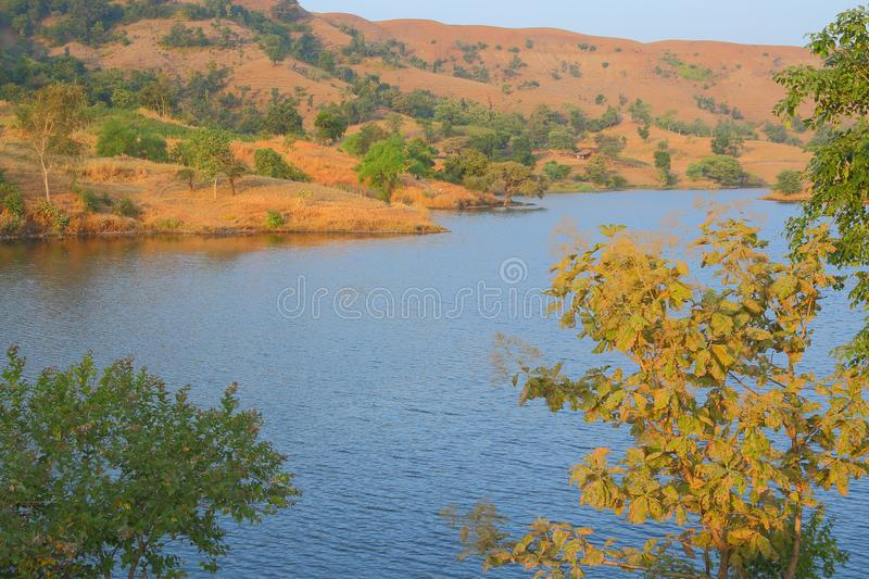 Nature in forest, mahi back water, banswara, rajasthan, India. Foreground corner green tree, blue water of mahi river, mountain and green tree in background royalty free stock photos