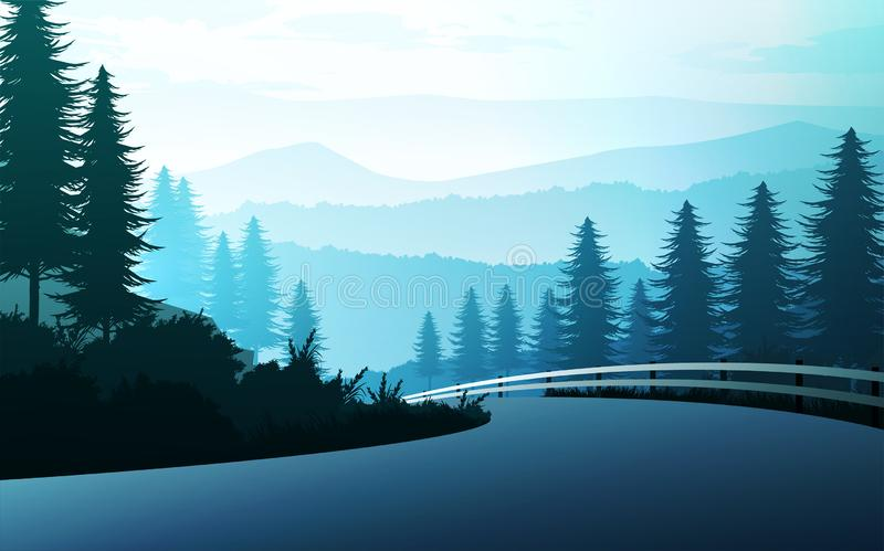 Nature forest Natural Pine forest mountains horizon Landscape wallpaper and the route Sunrise and sunset Illustration vector style royalty free illustration