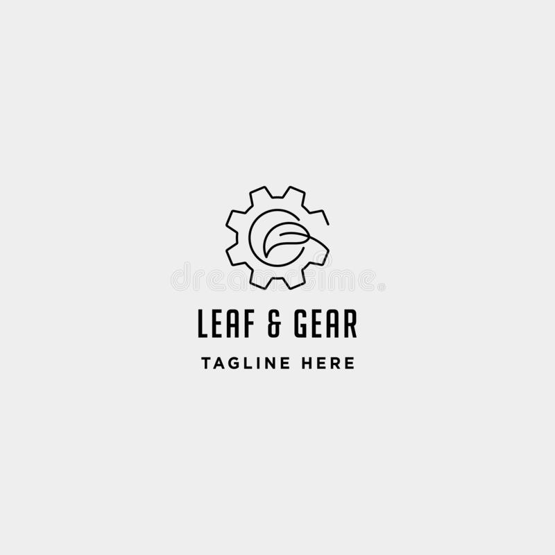 Nature gear logo vector farm industry line icon symbol sign isolated. Nature gear logo vector farm industry line icon symbol sign illustration isolated, leaf vector illustration