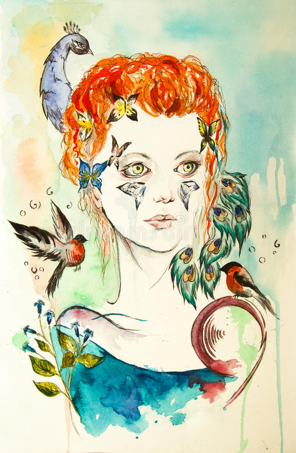 Nature girl. This is a illustration of nature girl. (watercolor vector illustration
