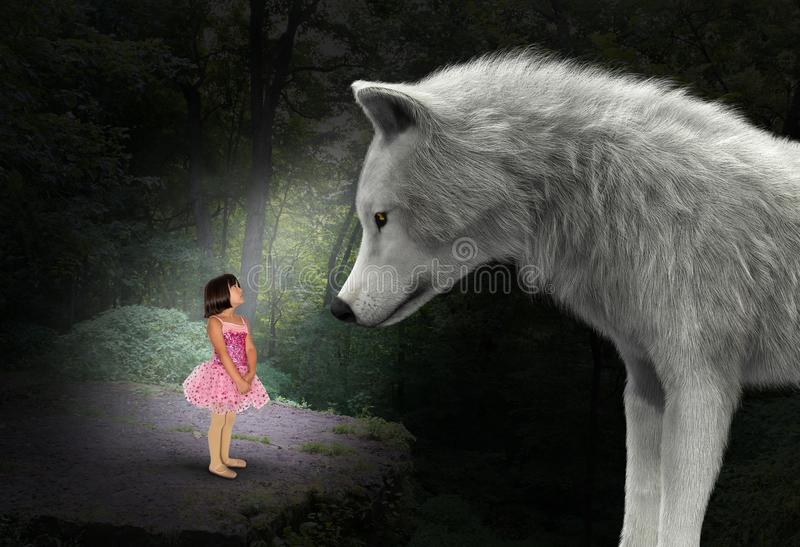 Nature, Girl, Wolf, Woods, Forest, Surreal royalty free stock photography