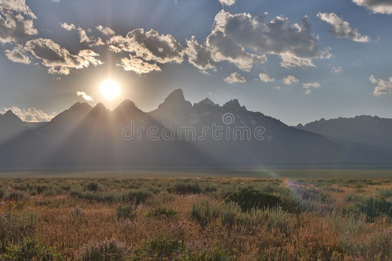 Dramatic sunset forming in the Grand Tetons stock image