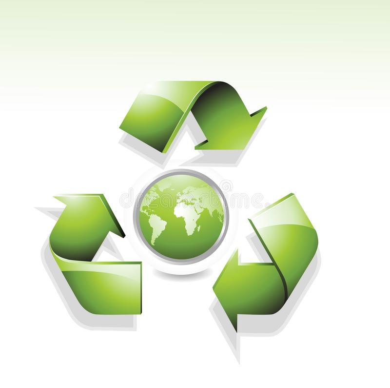 Nature green globe with recycle arrow symbol. Design stock illustration