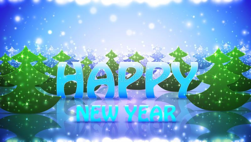 Nature Greetin Card Happy New Year with Christmas Trees vector illustration
