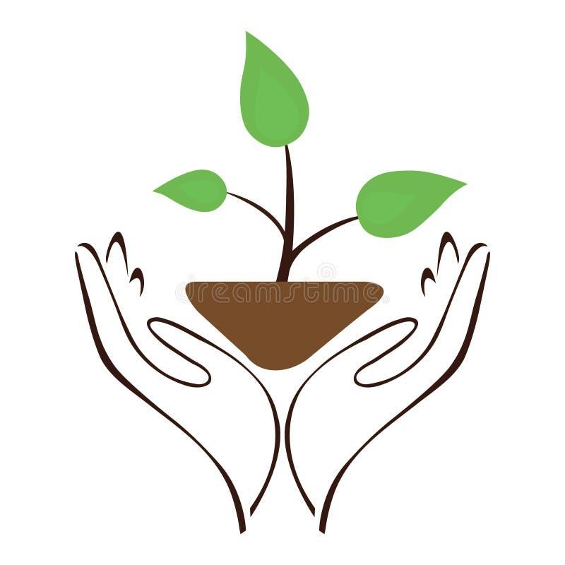 Nature Hand Leaf stock illustration