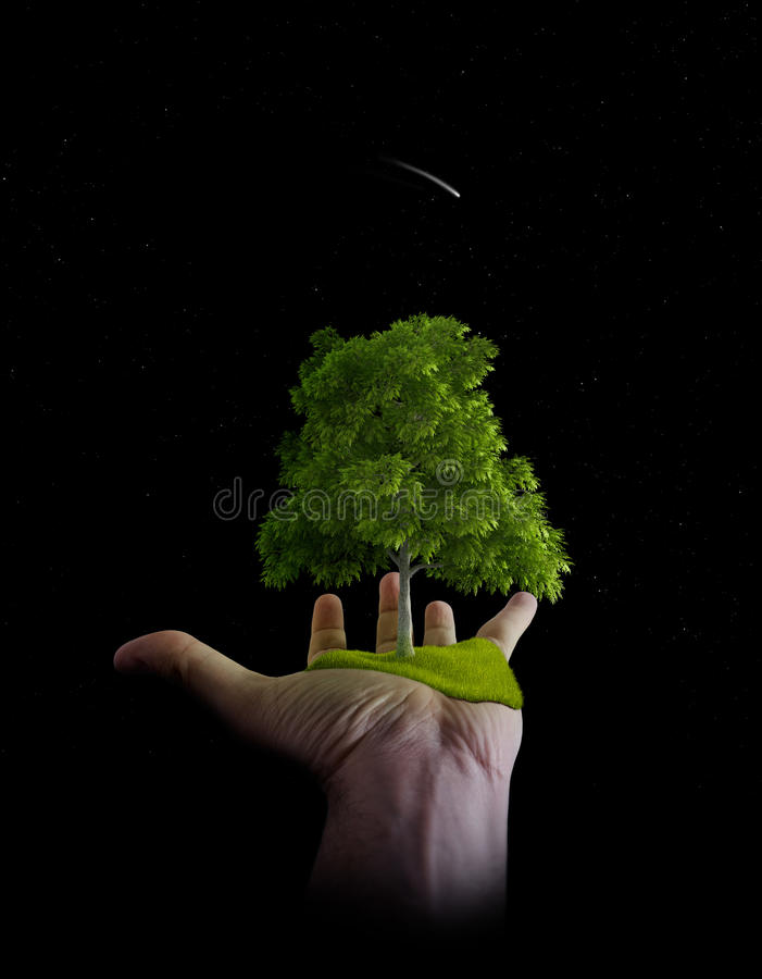 The nature is in the hands of the man stock photography