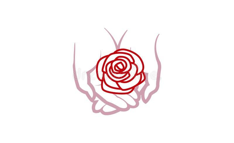 Nature Hands Rose Logo. Design Symbol Illustration royalty free illustration