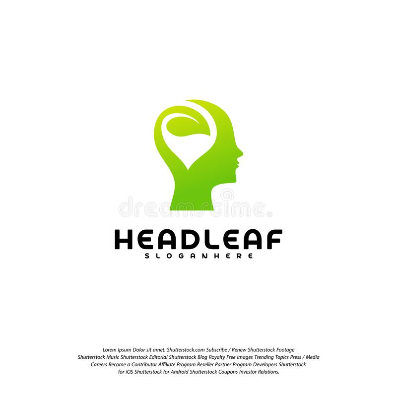 Nature Head science logo vector, Head intelligence logo designs concept vector.  vector illustration
