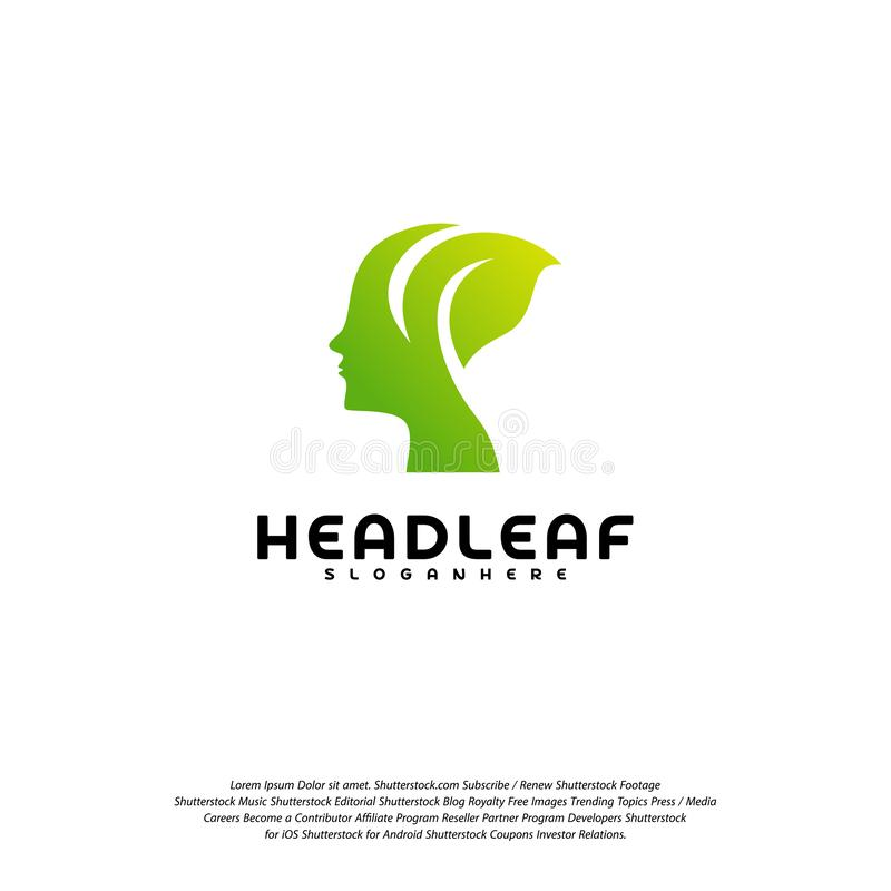 Nature Head science logo vector, Head intelligence logo designs concept vector.  stock illustration
