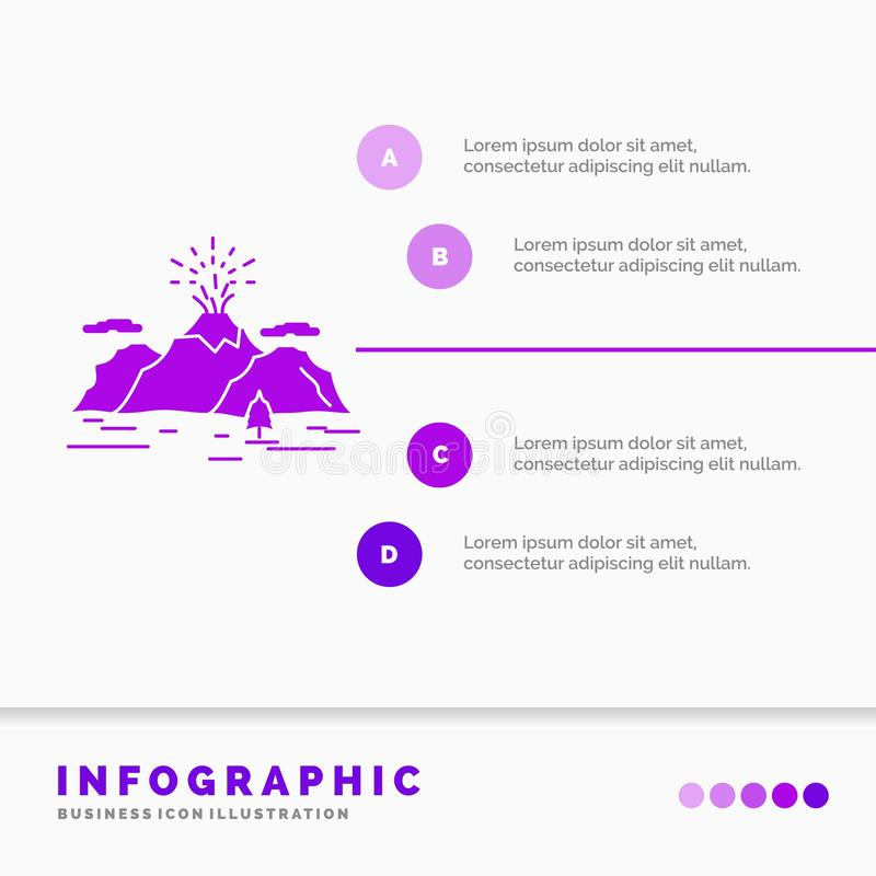 Nature, hill, landscape, mountain, blast Infographics Template for Website and Presentation. GLyph Purple icon infographic style royalty free illustration