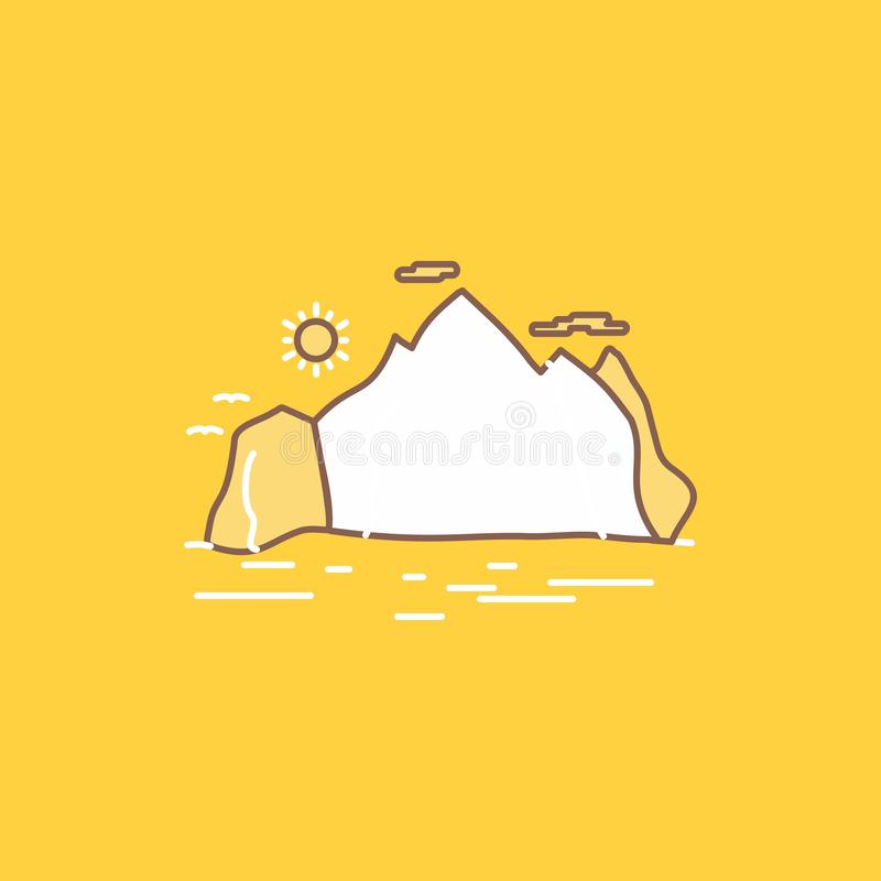 Nature, hill, landscape, mountain, scene Flat Line Filled Icon. Beautiful Logo button over yellow background for UI and UX,. Website or mobile application royalty free illustration