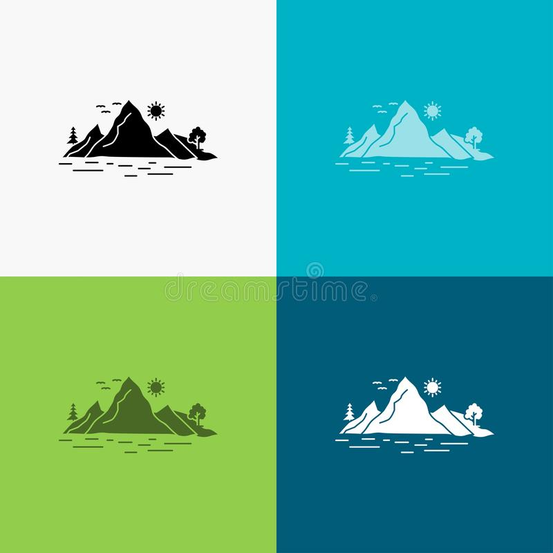 Nature, hill, landscape, mountain, tree Icon Over Various Background. glyph style design, designed for web and app. Eps 10 vector. Illustration. Vector EPS10 royalty free illustration