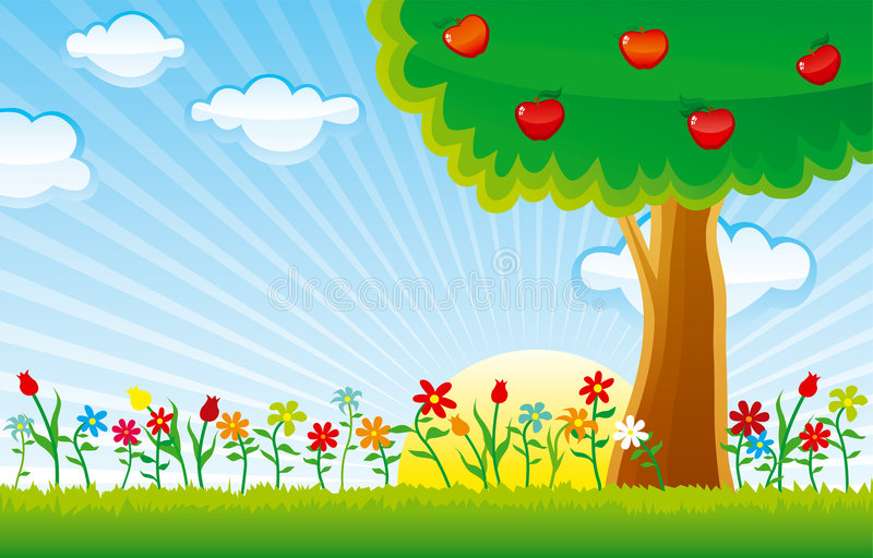 Download Nature horizontal stock vector. Image of season, scenics - 4285716