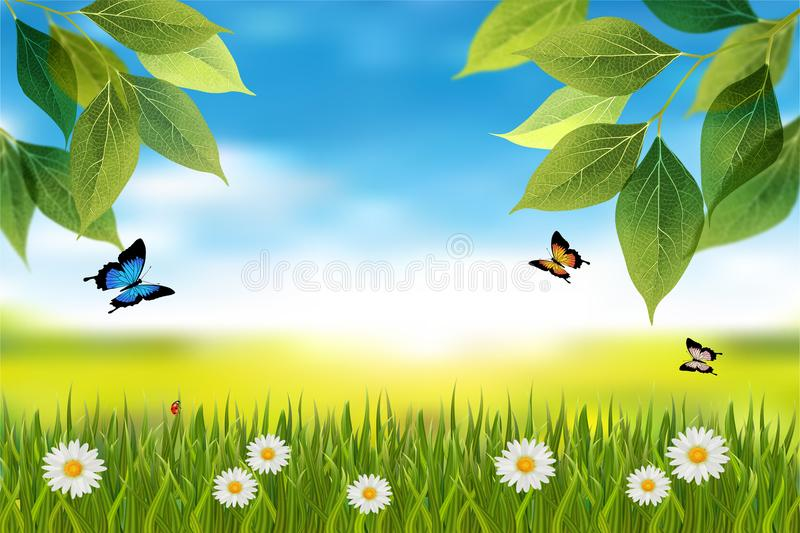 Nature horizontal background with spring or summer scene vector illustration