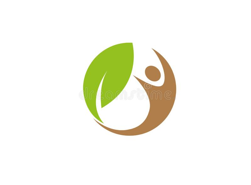 Nature humaine et feuille saines en cercle pour l'illustration de conception de logo illustration libre de droits